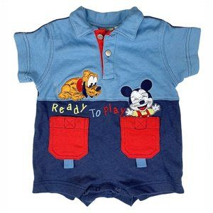 Vintage Disney Ready To Play Mickey & Pluto Romper